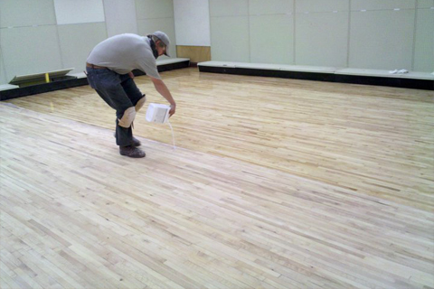 Retail Store Remodel- Refinished Maple flooring.